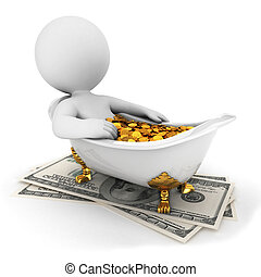 3d white people takes a money bath, isolated white...