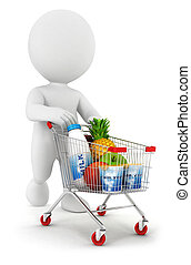 3d white people with a shopping cart, isolated white...