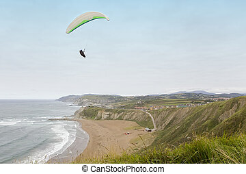 Skydiving - Paraglider flying over a beach near the seashore