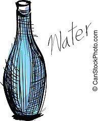 water drink in bottle and glass. rough drawing