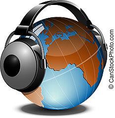 Globe with headphones