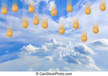 Falling money from the sky - An image of falling money from...