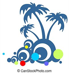 palm trees - Three palm trees and abstract pattern isolated...