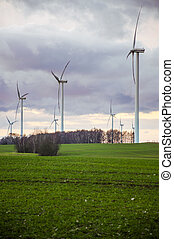 Windturbine - An image of windturbine generator over cloudy...