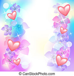 Valentine hearts with flowers