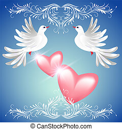 Two dove and two hearts - Two dove on blue background with...