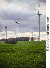 Windturbine - An image of windturbine generator over cloudy...
