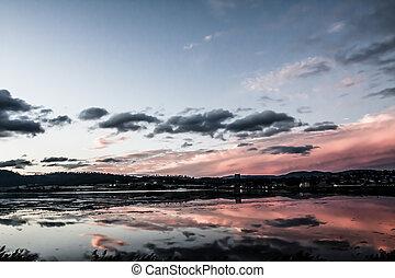 Reflection of Sunset in Tasmania, Australia