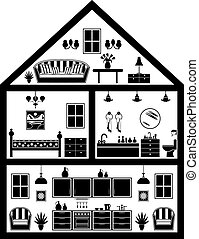 Icon of house with planning in black and white