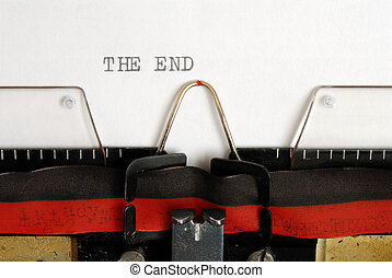 The End - Macro of typewriter and THE END words