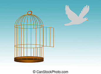 Gilded cage escape concept, freedom metaphor - Bird beyond...