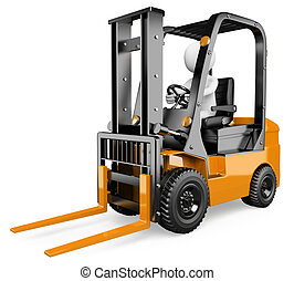 3D white people. Forklift