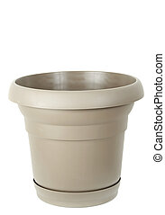plastic flower pot - beige plastic flower pot, white...