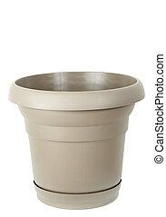 plastic flower pot - beige plastic flower pot, white...