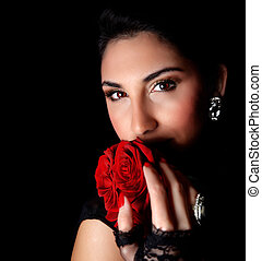 Gorgeous woman - Picture of gorgeous woman holding beautiful...
