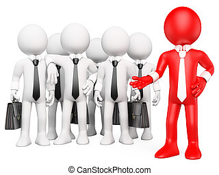 3D white people Work team - 3d white business person showing...