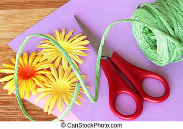 Craft Supplies 1 - A close up image of colorful craft...