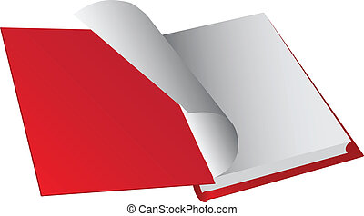 Opening hardback, turning the pages. Vector illustration.