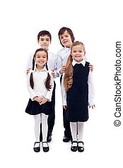 Group of happy and well groomed kids - isolated - Group of...