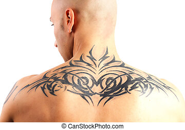 tatuado, homem