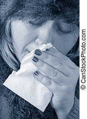 sickness - under the weather or feeling blue, sick woman...