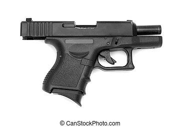 negro, arma de fuego, aislado, blanco, Plano de fondo