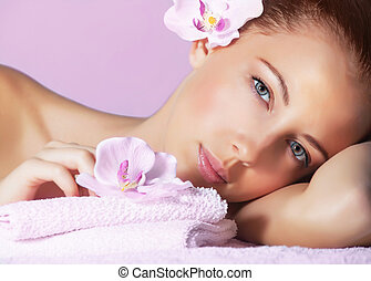 Female in spa salon - Picture of cute female with pink...