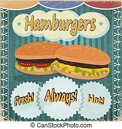 Vintage background with the image of hamburgers.