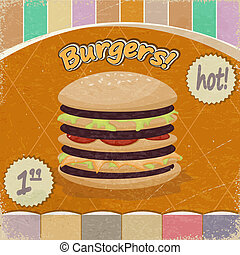 Vintage background with the image of  big hamburger.