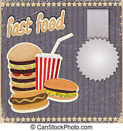 Vintage background with the image of fast food.
