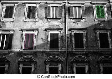 The facade of a building