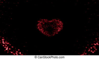 Heart made of red particles looped