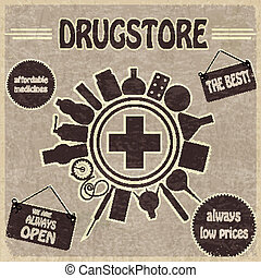 Vintage sign for the drugstores