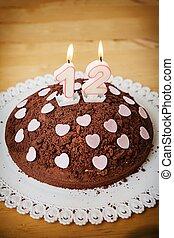 點燃, 蜡燭, 生日, 蛋糕, 巧克力