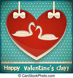 Valentines Card with Swans - Valentines Greeting Card. Heart...
