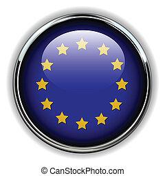 EU button - EU, European Union flag button