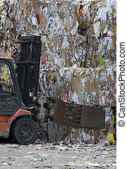 Waste Paper - Fork Stacker working with Waste Paper