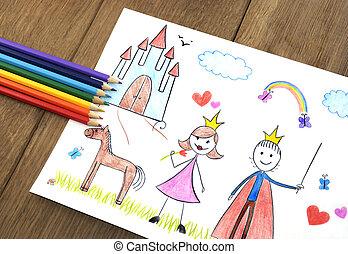 Kids drawing princess and prince