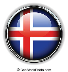 Iceland button - Iceland flag button