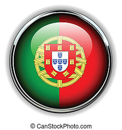 Portugal button - Portugal flag button