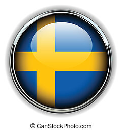 Sweden button - Sweden flag button