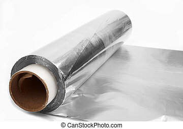 aluminum foil - close up of an aluminum foil on white...