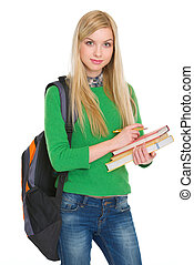 Portrait of student girl with backpack