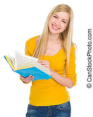 Portrait of smiling student girl with book
