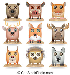Forest Animals - Wild animals icon set Forest Animals...