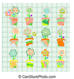 Spring flowers in pots, seamless background