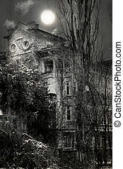 old house - spooky old house with super moon in the sky-...