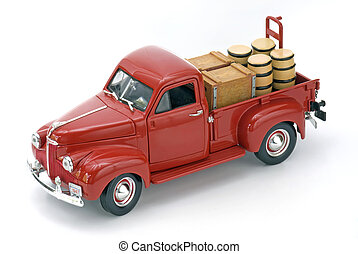 Red Truck with Barrels on a White Isolated Background.