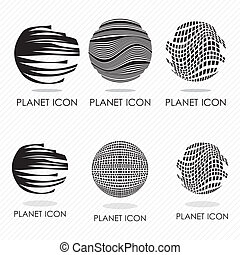 Planet icons - 6 differents planet icons silhouettes. Vector...