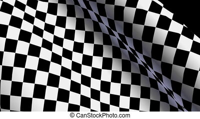 Checkered flag -  Checkered flag waving in wind